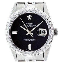 Rolex Datejust 16014 Oyster Perpetual Stainless Steel/18K White Gold Black Onyx Diamond Watch