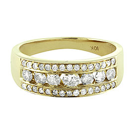 10K Yellow Gold Channel Round Diamond Wedding Ring Band