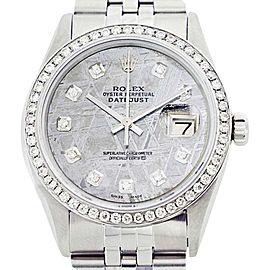 Rolex Datejust 16014 Oyster Perpetual Stainless Steel/18K Gold Meteorite Diamond Men Watch