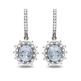 14K White Gold 8.00ct Aquamarine and 1.90ct Diamond Earrings
