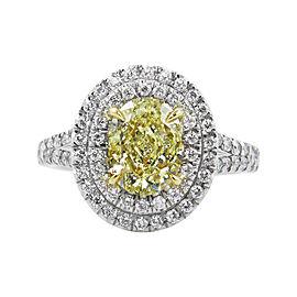 Platinum 2.78 Ct Fancy Yellow Oval Diamond Vintage Engagement Wedding Ring