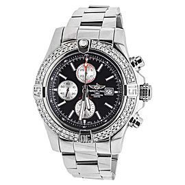 Breitling A1337111 Super Avenger Black Dial Stainless Steel With 3.0ct Diamonds Mens Watch