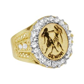 10K Yellow Gold Lab Diamond Gemini Twins Zodiac Designer Pinky Ring