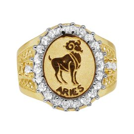 10K Yellow Gold Lab Diamond Aries Ram Lucky Zodiac Designer Pinky Ring