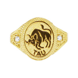 10K Yellow Gold Taurus Bull Zodiac Astrology Designer Pinky Ring