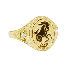 10K Yellow Gold Capricorn Lucky Horse Zodiac Designer Pinky Ring