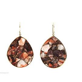 Ippolita 18K Yellow Gold Red Calcite Bronze Matrix Large Teardrop Earrings