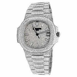 Patek Phillipe Nautilus 5711/1A Steel Pave Set 26.5ct Diamond Mens Watch