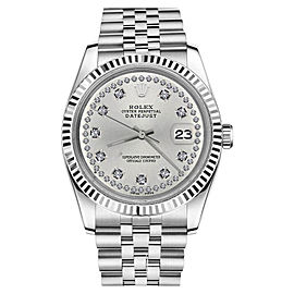Rolex Datejust 18K White Gold/Stainless Steel Jubilee Silver String Diamond 26mm Womens Watch
