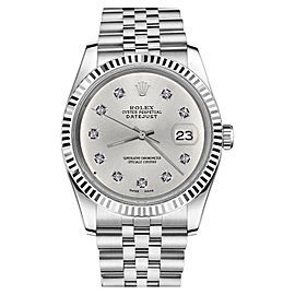 Rolex Datejust 18K/Stainless Steel Silver Face Classic 10 Round Diamond Numbers Jubilee 26mm Womens Watch