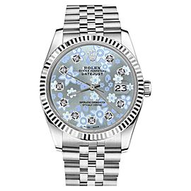 Rolex Datejust Stainless Steel Glossy Ice Blue Flower Diamond Number Face Jubilee 26mm Womens Watch