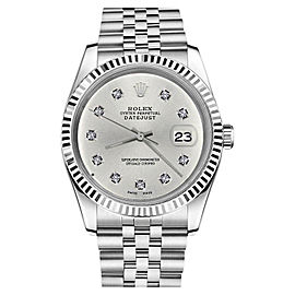 Rolex Datejust 18K White Gold & Stainless Steel Silver 10 Round Diamond Numbers 26mm Womens Watch