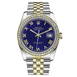 Rolex Datejust Stainless Steel/ 18K Gold Blue Roman Numeral Diamond Jubilee 36mm Unisex Watch