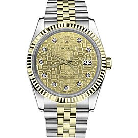 Rolex Datejust Stainless Steel/ 18K Gold Diamond Champagne Metal Logo Jubilee 26mm Womens Watch