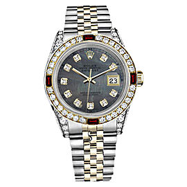 Rolex Datejust Stainless Steel/ 18K Gold Ruby Diamond Jubilee Green Pearl Mother Of Pearl 26mm Womens Watch