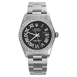 Rolex Datejust Stainless Steel Black Diamond Roman Numerals Oyster Bracelet Bezel 36mm Unisex Watch