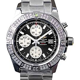 Breitling Colt Chronograph Stratus Black Dial Stainless Steel Diamond 44 mm Mens Watch
