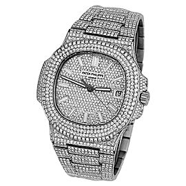 Patek Philippe Nautilus Stainless Steel Automatic Iced Out Diamond 40mm Mens Watch