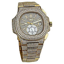 Patek Philippe Nautilus 18K Gold Chronograph Diamonds Automatic 40.5mm Mens Watch