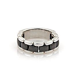 Chanel 18K White Gold & Black Ceramic Chain Band Ring Size 9.5