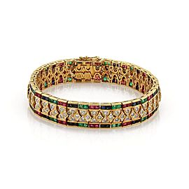 18k Yellow Gold 2.0ct Diamond and 10.0ct Ruby Sapphire Emerald Link Bracelet