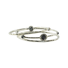 Ippolita Hematite .925 Sterling Silver Diamond Station Bangle Bracelet Trio Set