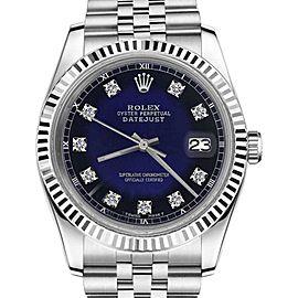 Rolex Datejust Blue Vignette Color Dial with Diamond Accent SP 31mm Womens Watch