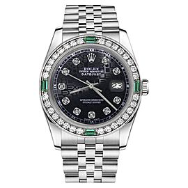 Rolex Datejust Jubilee Black Color Dial Emerald Diamond Accent 31mm Womens Watch