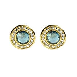 Ippolita 18K Yellow Gold Blue Topaz Diamond Mini Stud Earrings