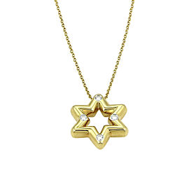 Tiffany & Co. Etoile 18K Yellow Gold 0.12 Ct Diamond Star Of David Pendant Necklace
