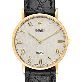 Rolex Cellini Classic Yellow Gold Anniversary Dial Black Strap Watch 5112