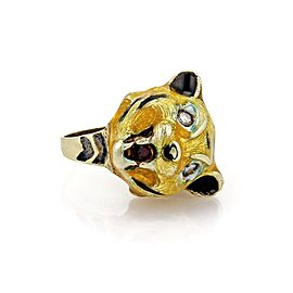 Carrera y Carrera 14K Yellow Gold Diamond & Multicolor Enamel Tiger Head Ring Size 7