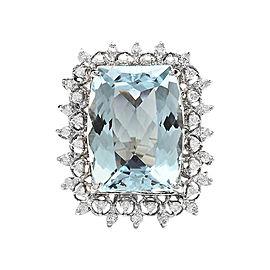 14K White Gold with 14.00ct Aquamarine and 0.80ct Diamond Ring Size 6.5