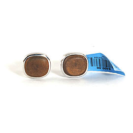 David Yurman Mens Brown Leather .925 Sterling Silver Cufflinks