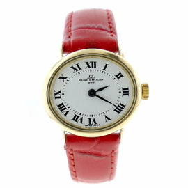Baume & Mercier 14K Yellow Gold / Leather with White Dial Vintage 27mm Womens Watch