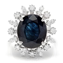 14K White Gold with 9.00ct Blue Sapphire & 0.80ct Diamond Ring Size 7