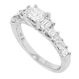 18K White Gold with 1.25ctw Princess & Baguette Cut Diamonds Ring Size 7