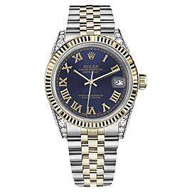 Rolex Datejust 18K Yellow Gold & Stainless Steel Navy Blue Roman Dial 36mm Unisex Watch