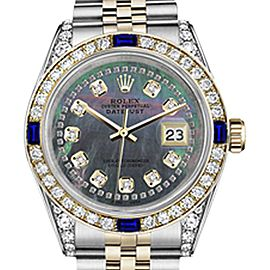Rolex Datejust Black Mother Of Pearl String Dial with Sapphire & Diamond 26mm Unisex Watch