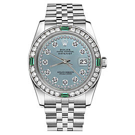 Rolex Datejust Stainless Steel Ice Blue Dial wDiamond & Emerald 36mm Womens Watch