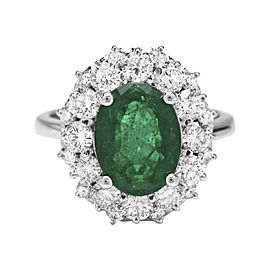 14K White Gold with 3.35ct Emerald & 1.50ct Diamond Ring Size 7