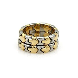 Bulgari Parentesi 18K Yellow Gold & Stainless Steel Double Stack Flex Band Ring Size 7