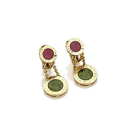 Bulgari Bvlgari 18K Yellow Gold Coral & Jade Disc Drop Dangle Earrings
