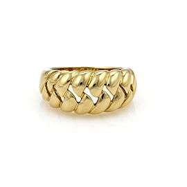 Bulgari 18K Yellow Gold Open Ribbed Design Semi Dome Ring Size 7
