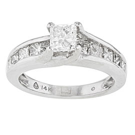 14K White Gold with 0.40ct Princess Cut Diamonds Ring Size 7