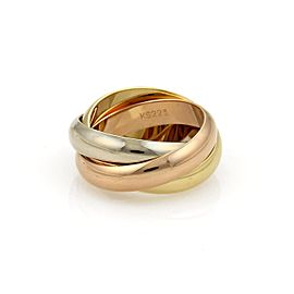 Cartier Trinity 18K Yellow White & Rose Gold Band Ring Size 5.75