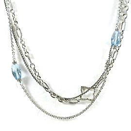 David Yurman Chain Sterling Silver Blue Topaz; Diamond Necklace
