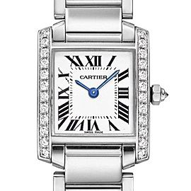 Cartier Tank Francaise WE1002S3 18K White Gold Diamond Quartz 20mm Womens Watch