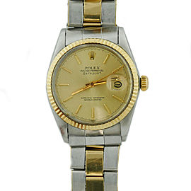 Rolex Datejust 16013 14K Yellow Gold Stainless Steel Gold Dial 36mm Vintage Unisex Watch