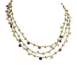 Marco Bicego Paradise 18K Yellow Gold & Multicolor Gemstone Triple Strand Necklace